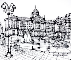 At the Victoria Square, Birmingham by Ingo -  sized 43x35 inches. Available from Whitewall Galleries